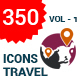 350 Flat Travel Icons - GraphicRiver Item for Sale