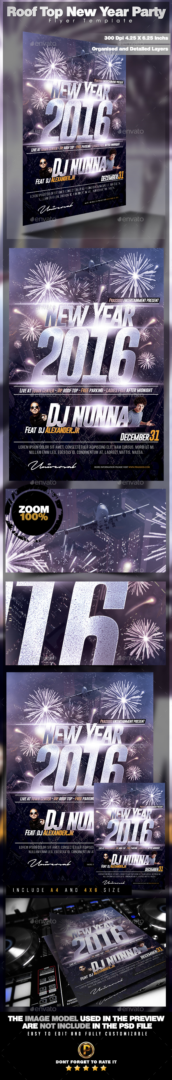 Roof Top New Year Party Flyer Template - Events Flyers