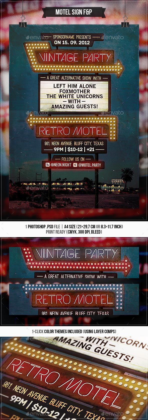 Motel Sign - Flyer & Poster - Concerts Events
