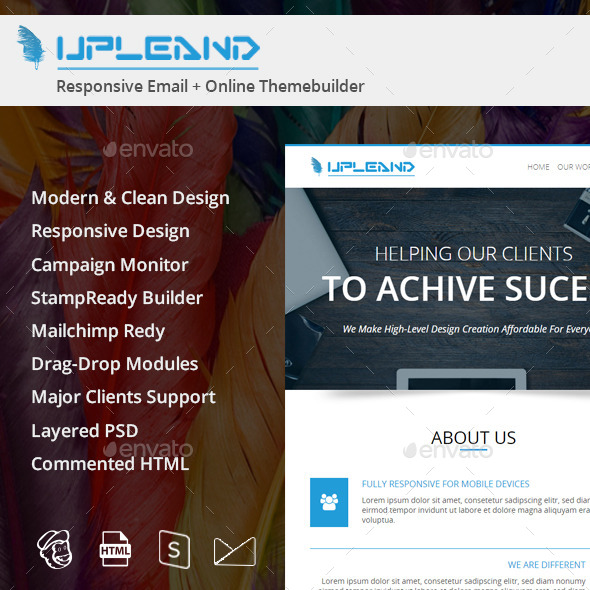 Upleand Email Template PSD - E-newsletters Web Elements