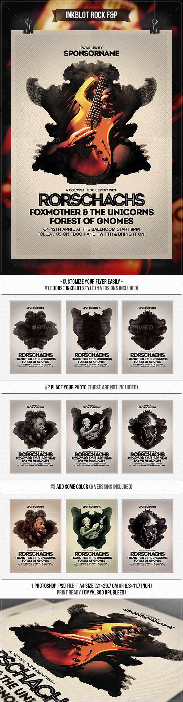Inkblot Rock Flyer & Poster - Concerts Events