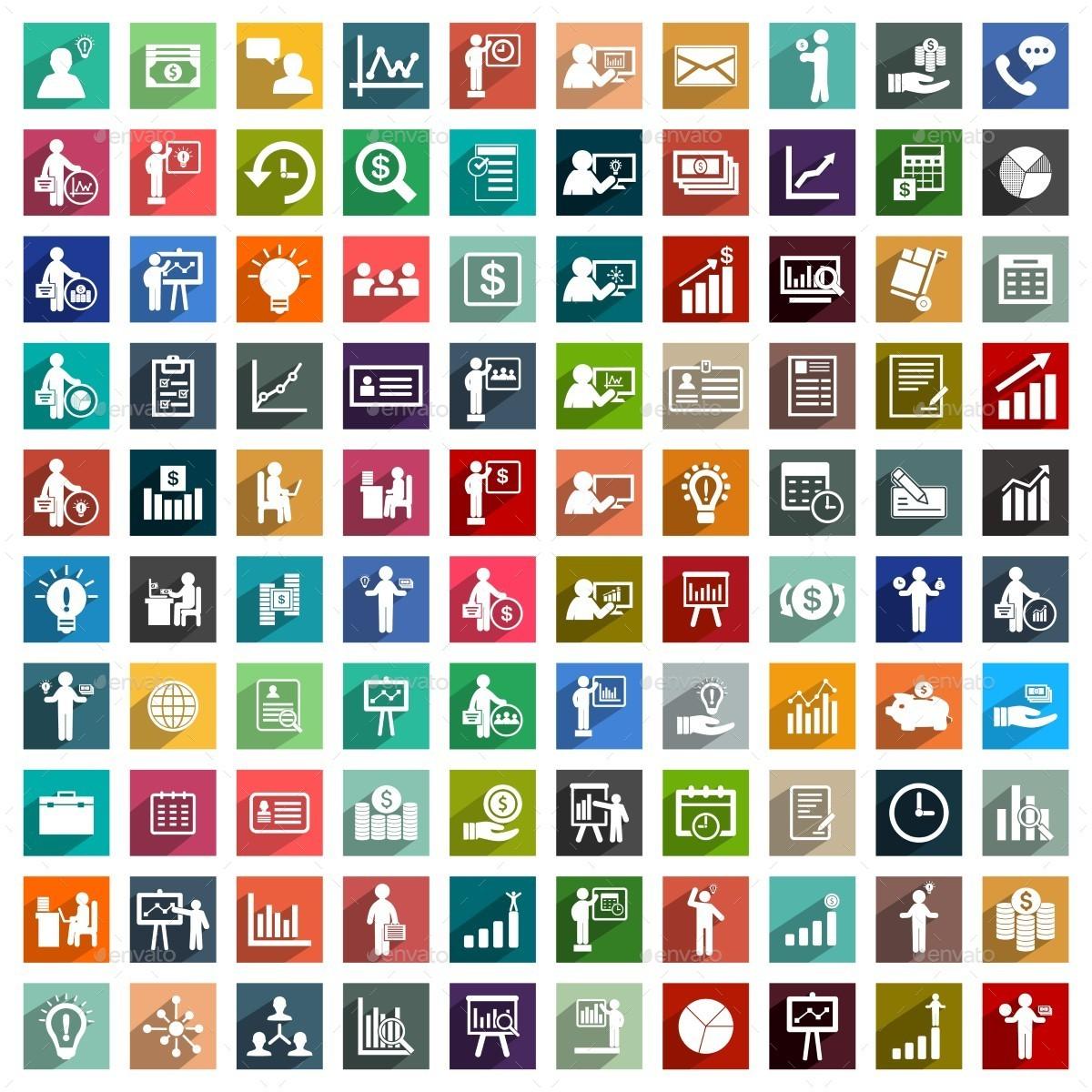700 Flat Business Icons By Ibrandify Graphicriver