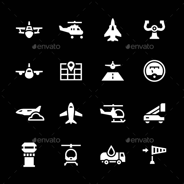 Set Icons of Aviation - Man-made objects Objects
