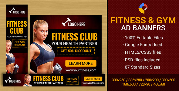 GWD - Fitness Club & Gym Banner - 7 Sizes - CodeCanyon Item for Sale