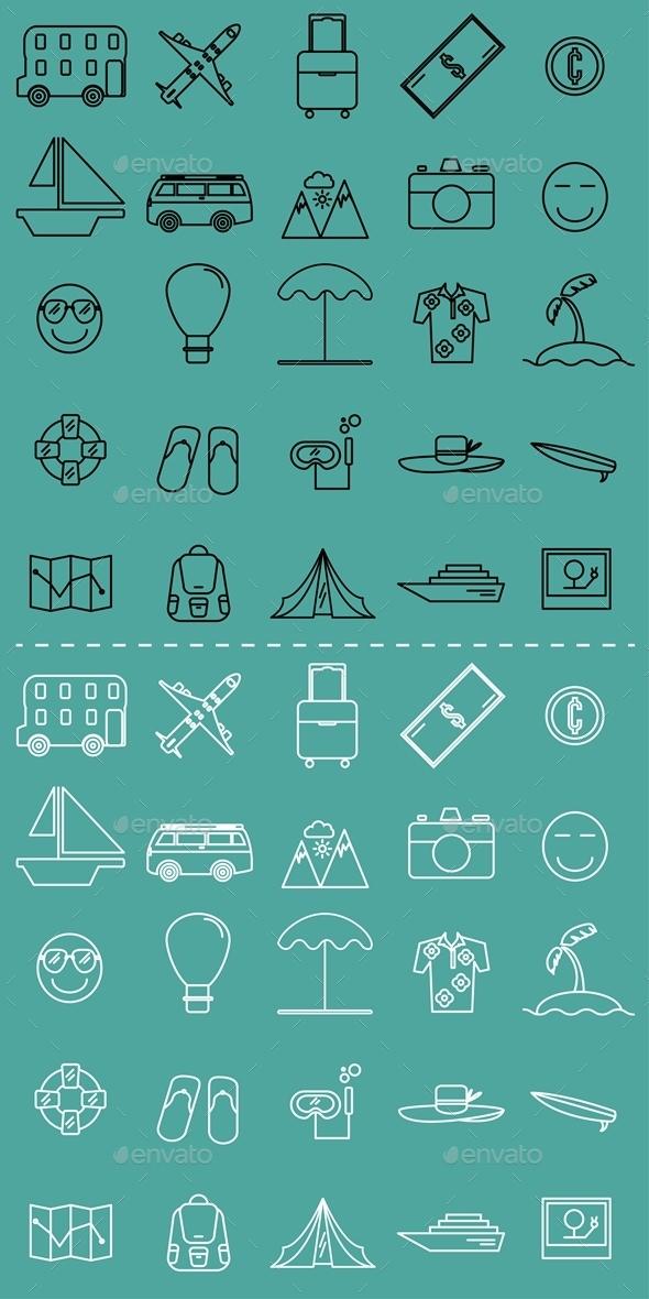 25 Travel Element Icon - Seasonal Icons