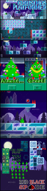 Christmas Platformer - Tilesets Game Assets