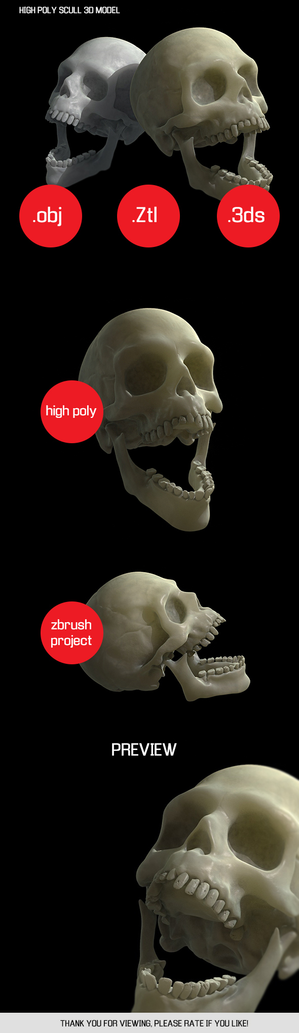 HIGH POLY SCULL 3D MODEL - 3DOcean Item for Sale