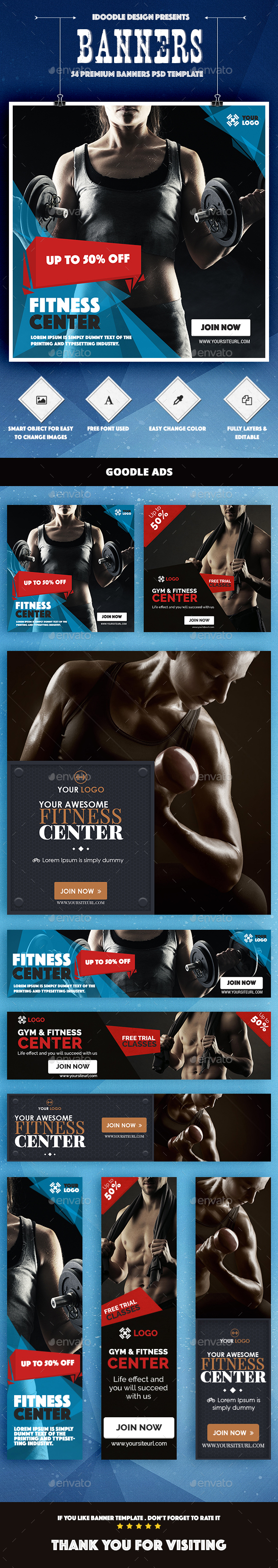 Bundle Fitness Banners Ad - 3 Sets - Banners & Ads Web Elements