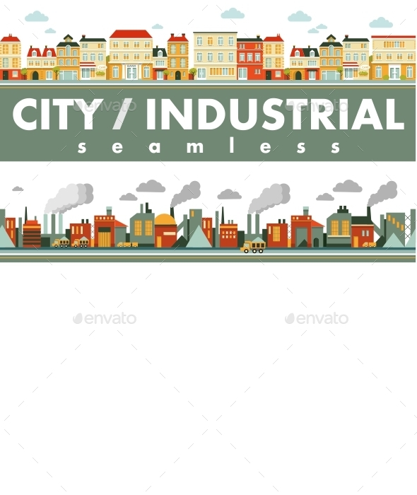 Industrial City Panorama Background - Buildings Objects