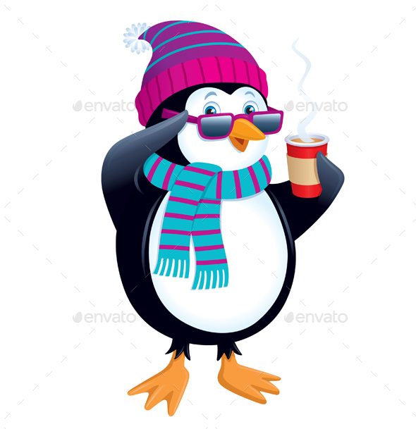 Penguin with Hot Drink Wearing Sunglasses - Animals Characters