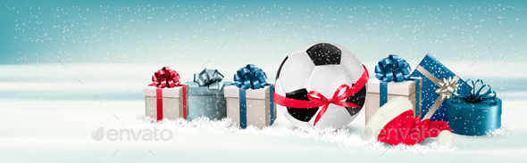 Holiday Banner with a Gift Boxes and Soccer Ball - Christmas Seasons/Holidays