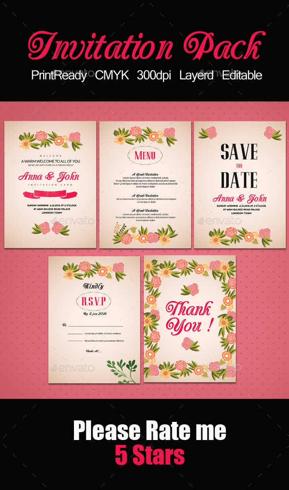 Pink Invitation Pack Templates - Cards & Invites Print Templates