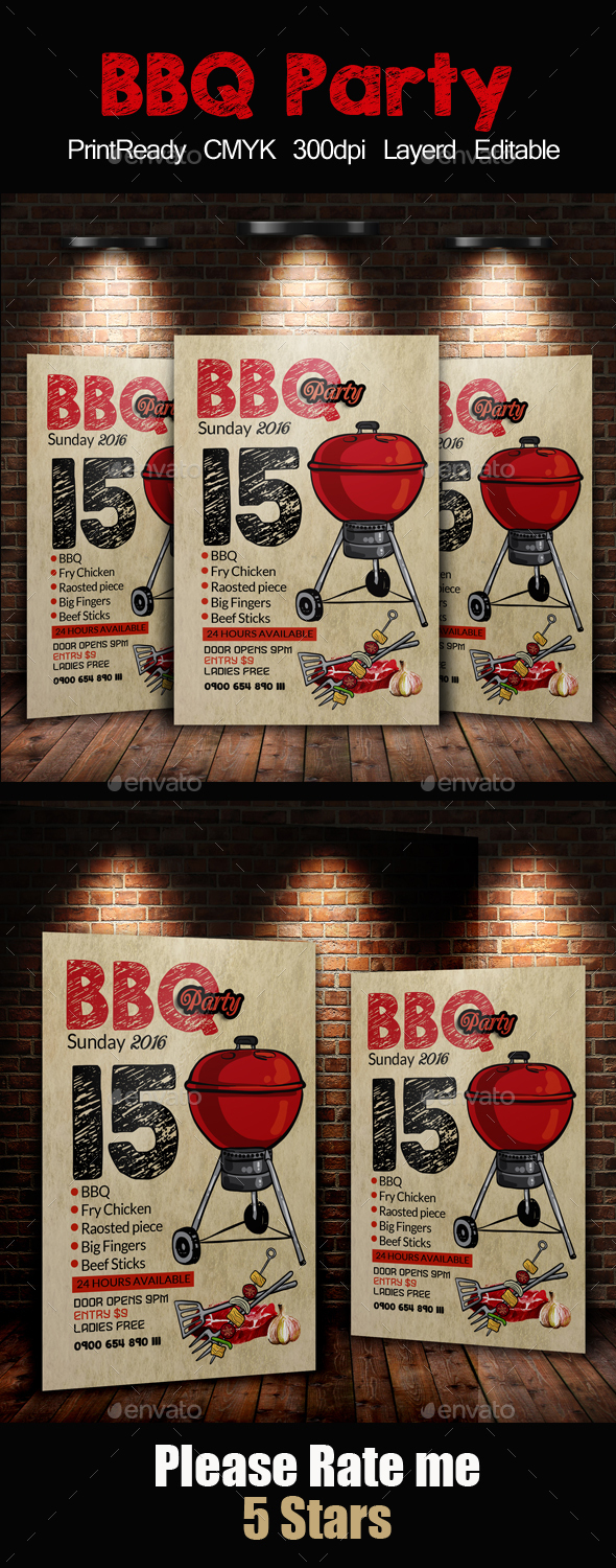 BBQ Barbecue Flyer Template - Clubs & Parties Events