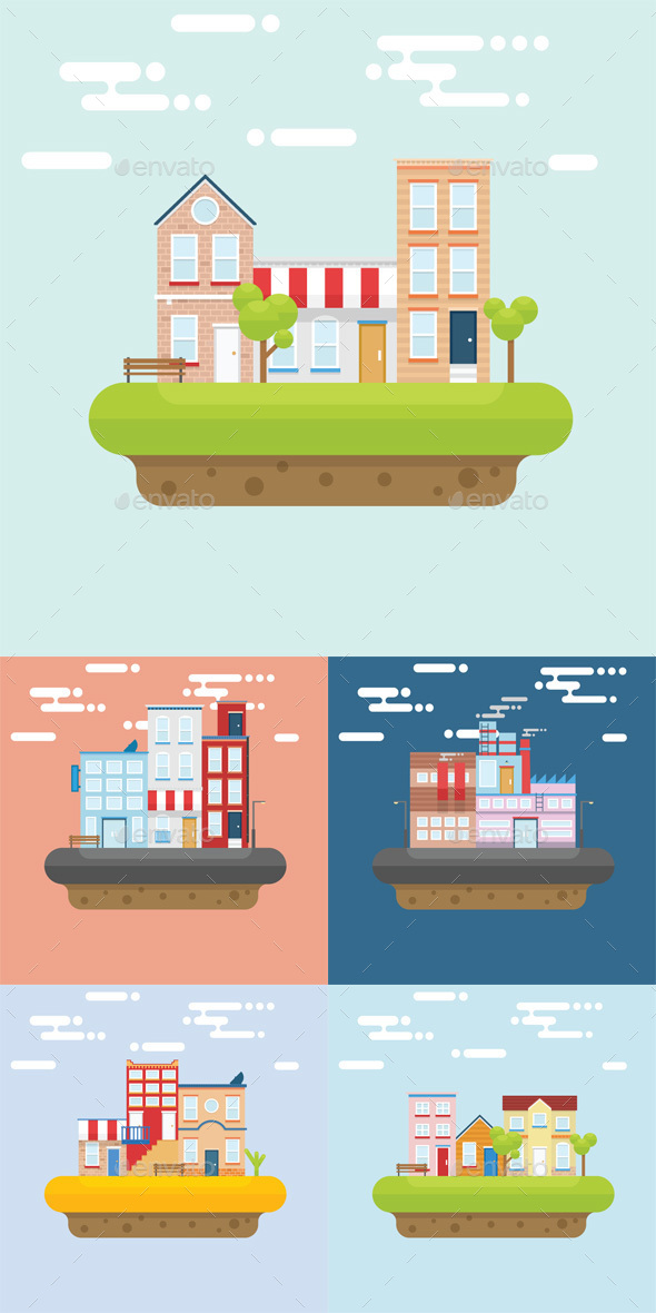 Floating Island Flat - Buildings Objects