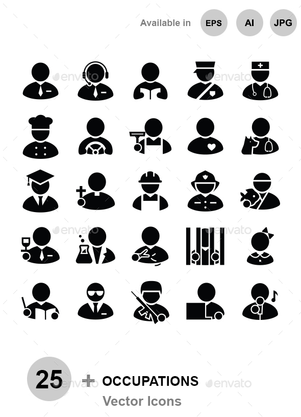 Occupations vector icons - People Characters