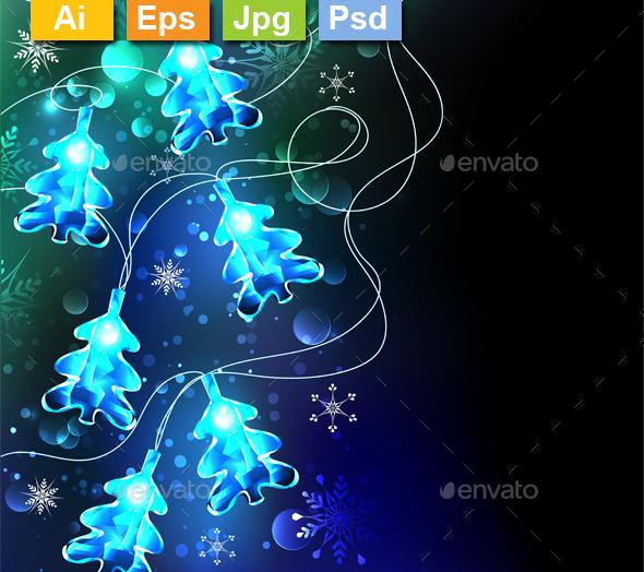 Glowing Christmas Trees - Christmas Seasons/Holidays