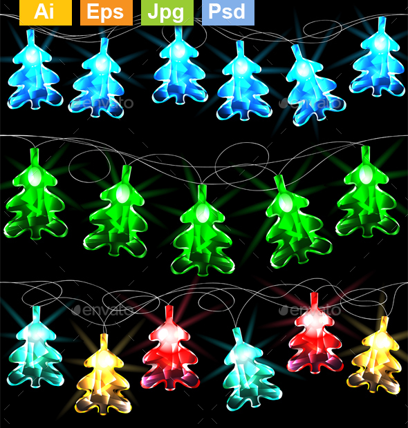 Set of Glowing Christmas Trees - Christmas Seasons/Holidays