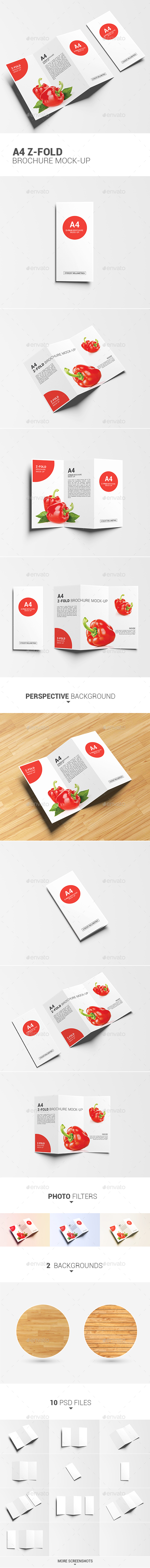 A4 Z-Fold Brochure Mock-Up - Product Mock-Ups Graphics