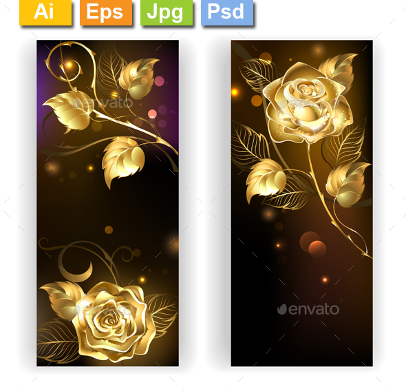Two Banners with Gold Roses - Decorative Vectors