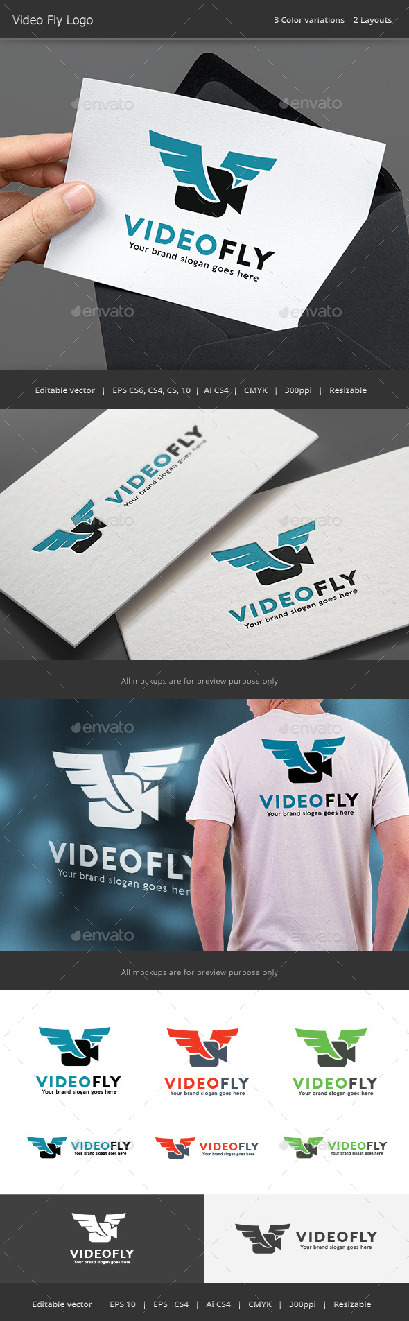 Video Fly Drone Logo - Vector Abstract