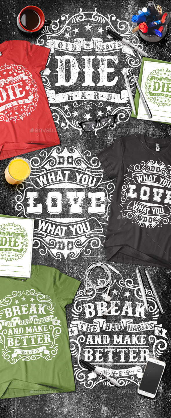 3 Motivational Typography T-shirt - T-Shirts