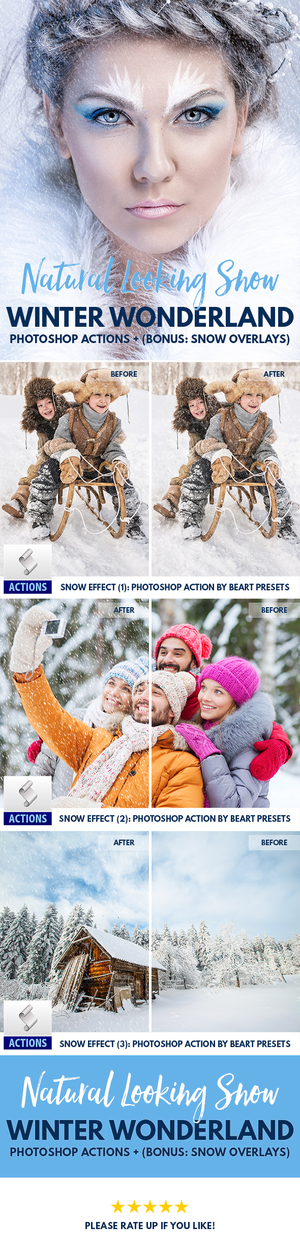 Real Snow Effect Photoshop Actions Brushes Overlay - Actions Photoshop
