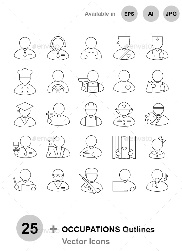 Occupations Outlines - People Characters