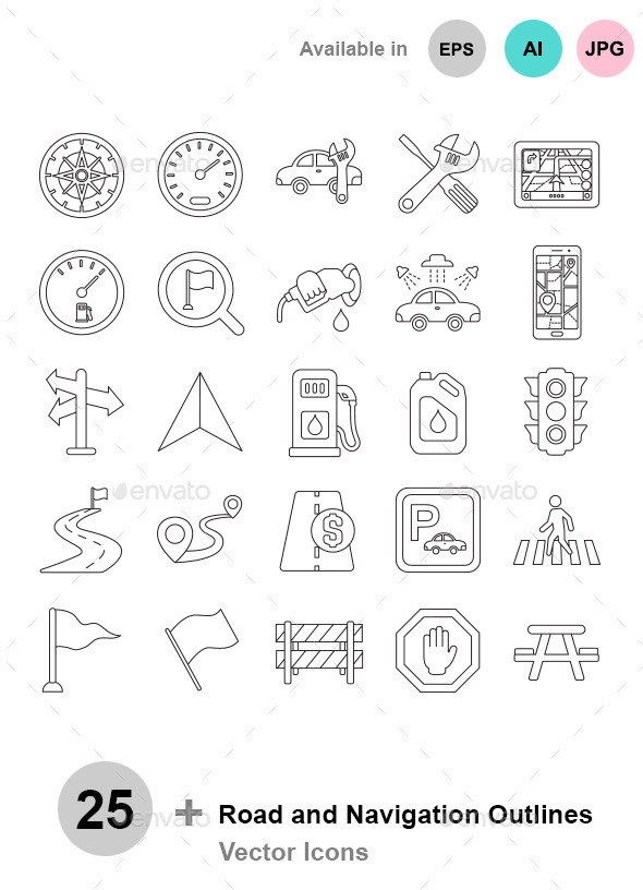 Road and Navigation Outlines - Technology Icons