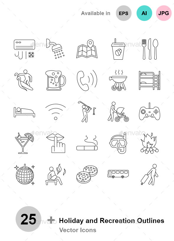Holiday and Recreation Outlines - Seasonal Icons