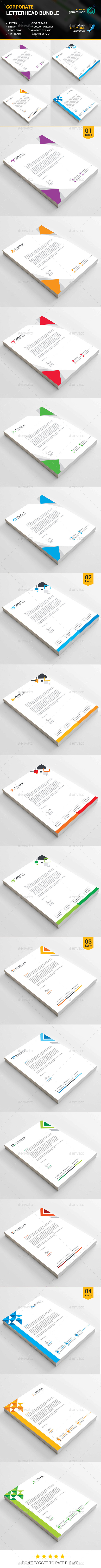 Business Letterhead Bundle 4 in 1 - Stationery Print Templates