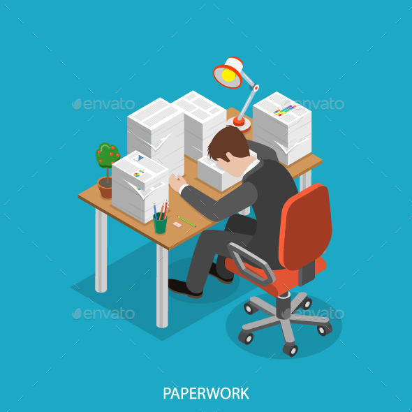 Paperwork Isometric Flat Concept - Concepts Business