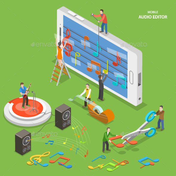 Mobile Audio Editor Flat Isometric Concept - Computers Technology