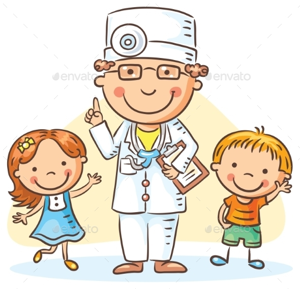 Cartoon Doctor With Happy Little Children, a Boy - Health/Medicine Conceptual