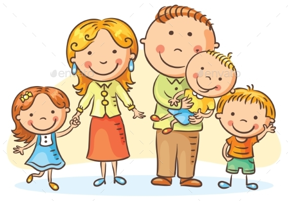 Happy Family With Three Children - People Characters