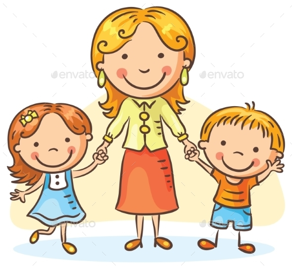 Mother With Two Children - People Characters