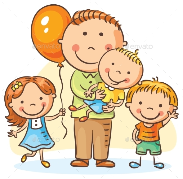 Father With Three Children - People Characters
