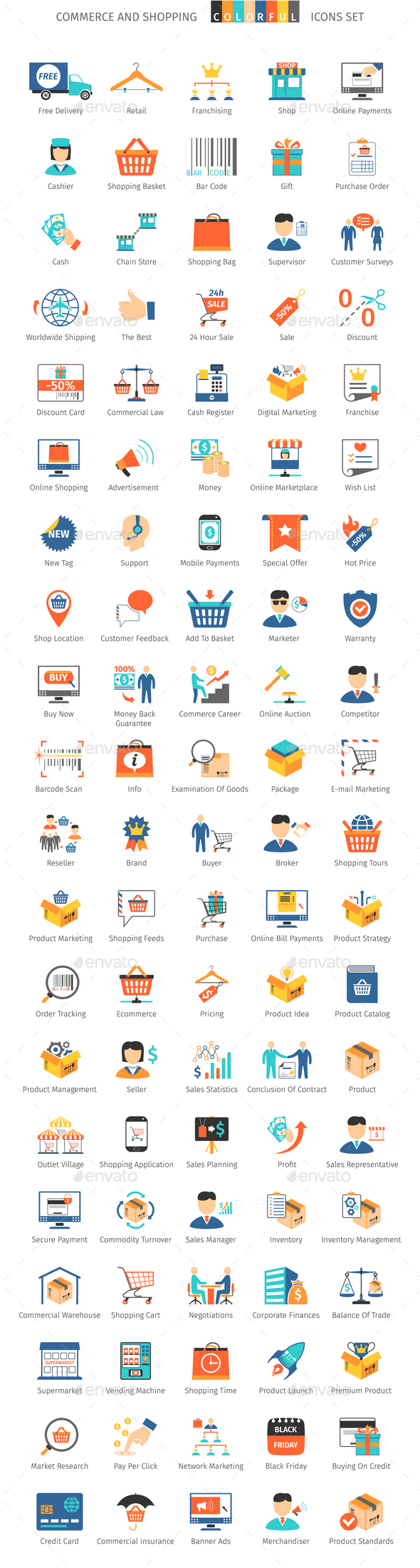 Commerce And Shopping Colorful Icons - Business Icons