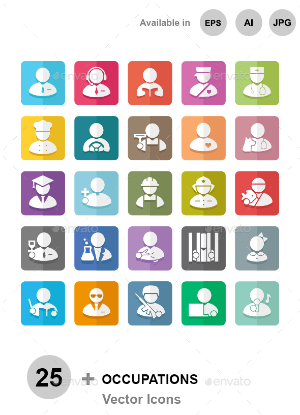 Occupations color vector icons - People Characters