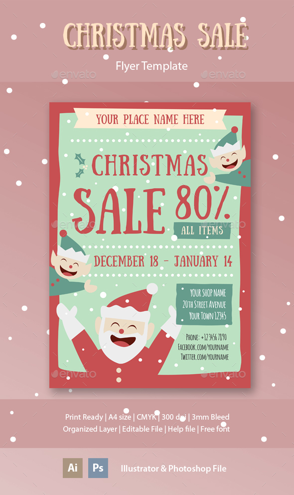 Christmas Sale Flyer Template - Holidays Events