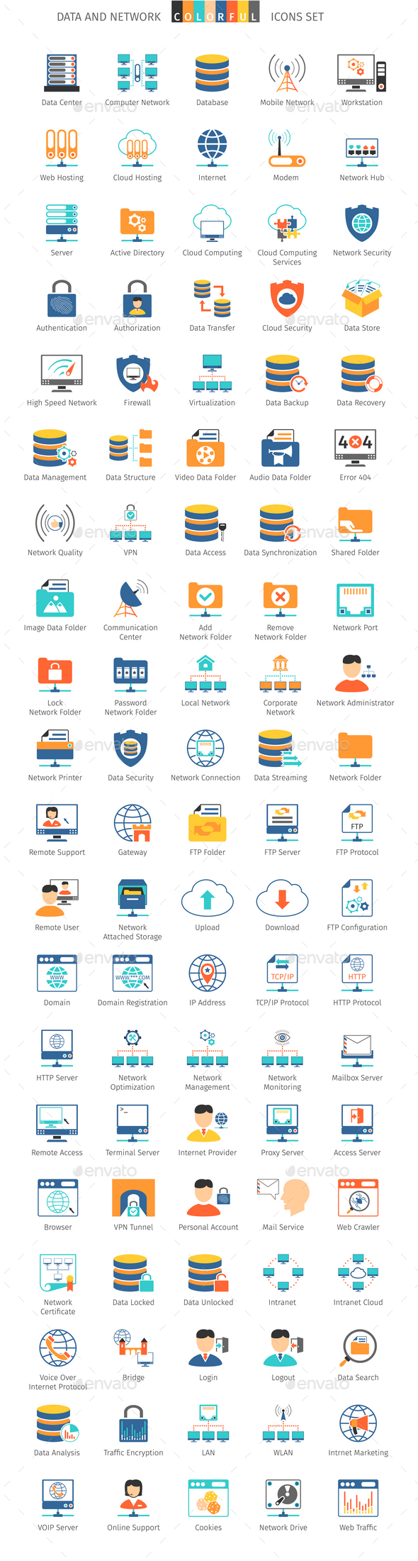 Data And Network Colorful Icons - Web Icons