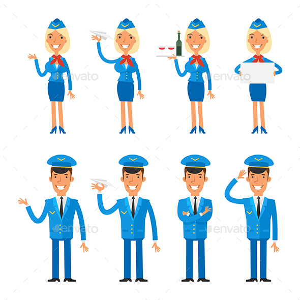 Stewardess and Pilot - People Characters