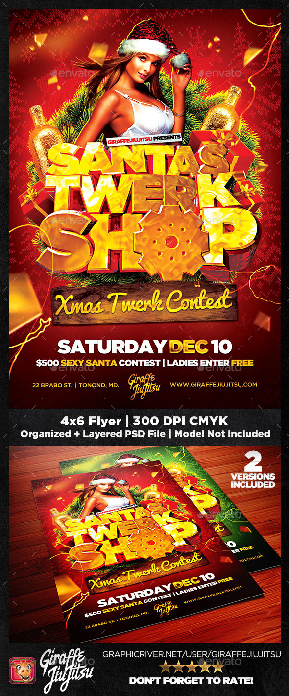 Santa's Twerk Shop Flyer Template - Clubs & Parties Events