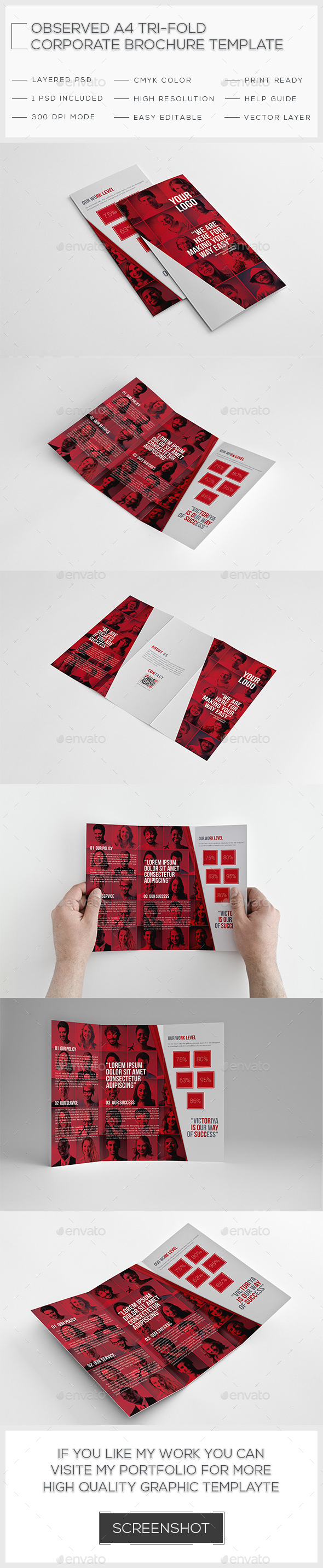 Observed Corporate Trifold Brochure Template - Brochures Print Templates