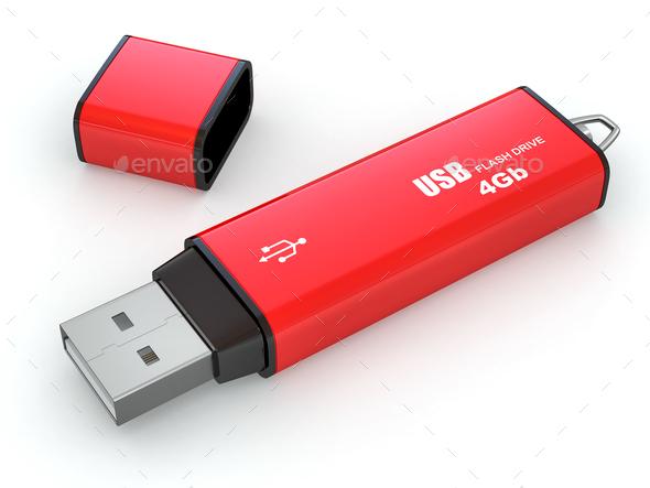 Usb flash memory on white background - Stock Photo - Images