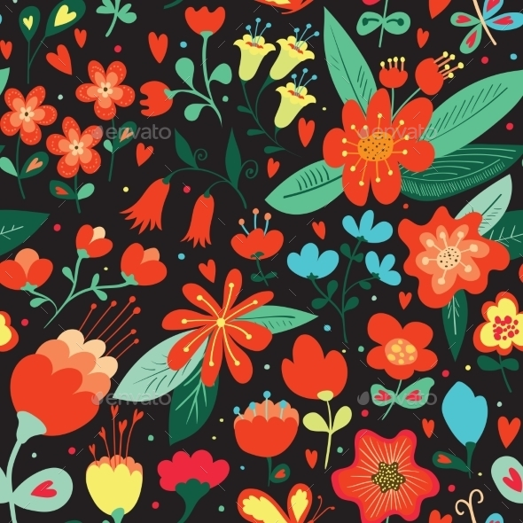 Seamless Pattern with Flowers - Valentines Seasons/Holidays