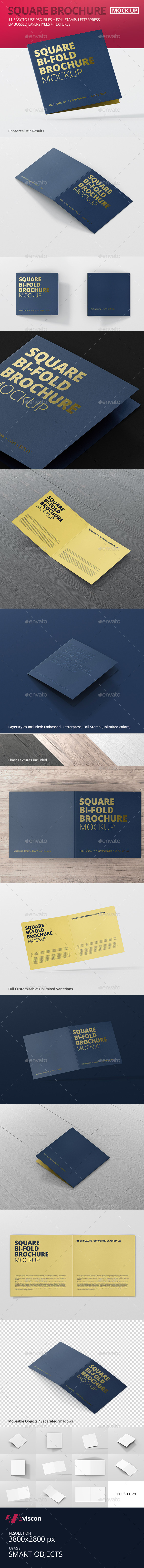 Square Bi-Fold Brochure Mock-Up - Brochures Print