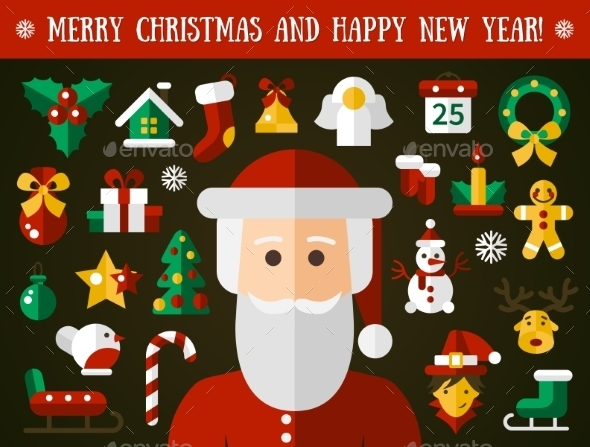 Christmas And Happy New Year Flat Design Icons - New Year Seasons/Holidays