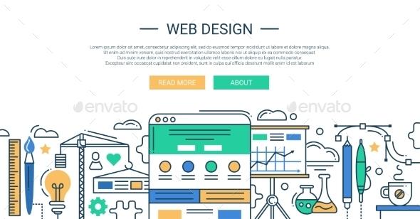 Web Design Tools Line Flat Design Illustration - Web Technology