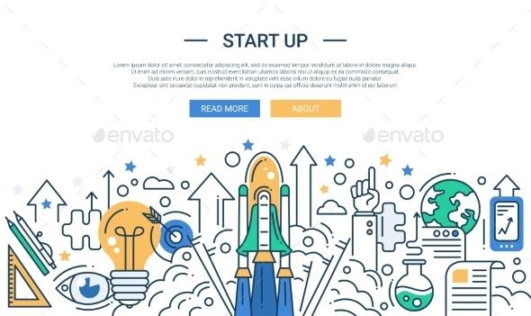 Start Up Line Flat Design Illustration - Web Technology