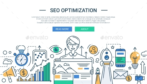 SEO Optimization Line Flat Illustration - Web Technology